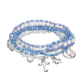 Mudd® Cross, Star & Peace Sign Charm Beaded Stretch Bracelet Set