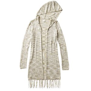 Girls Plus Size Mudd® Space-Dyed Fringe Hooded Cardigan