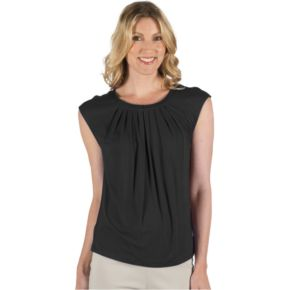 Women's Larry Levine Cap Sleeve Tuck Neck Zipper Top