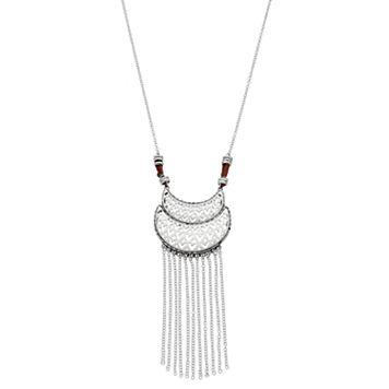 Mudd® Long Openwork Crescent Fringe Necklace