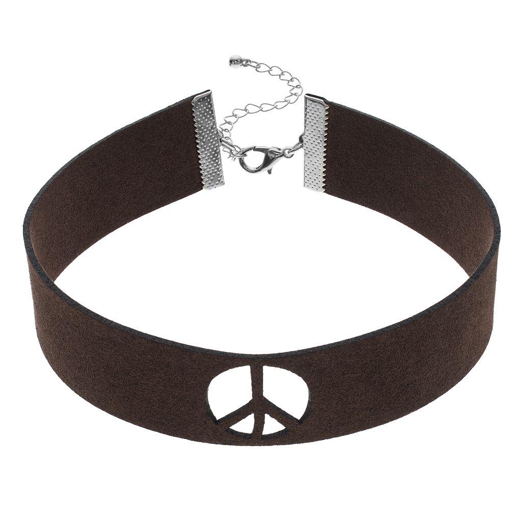 Mudd® Peace Sign Cutout Choker Necklace
