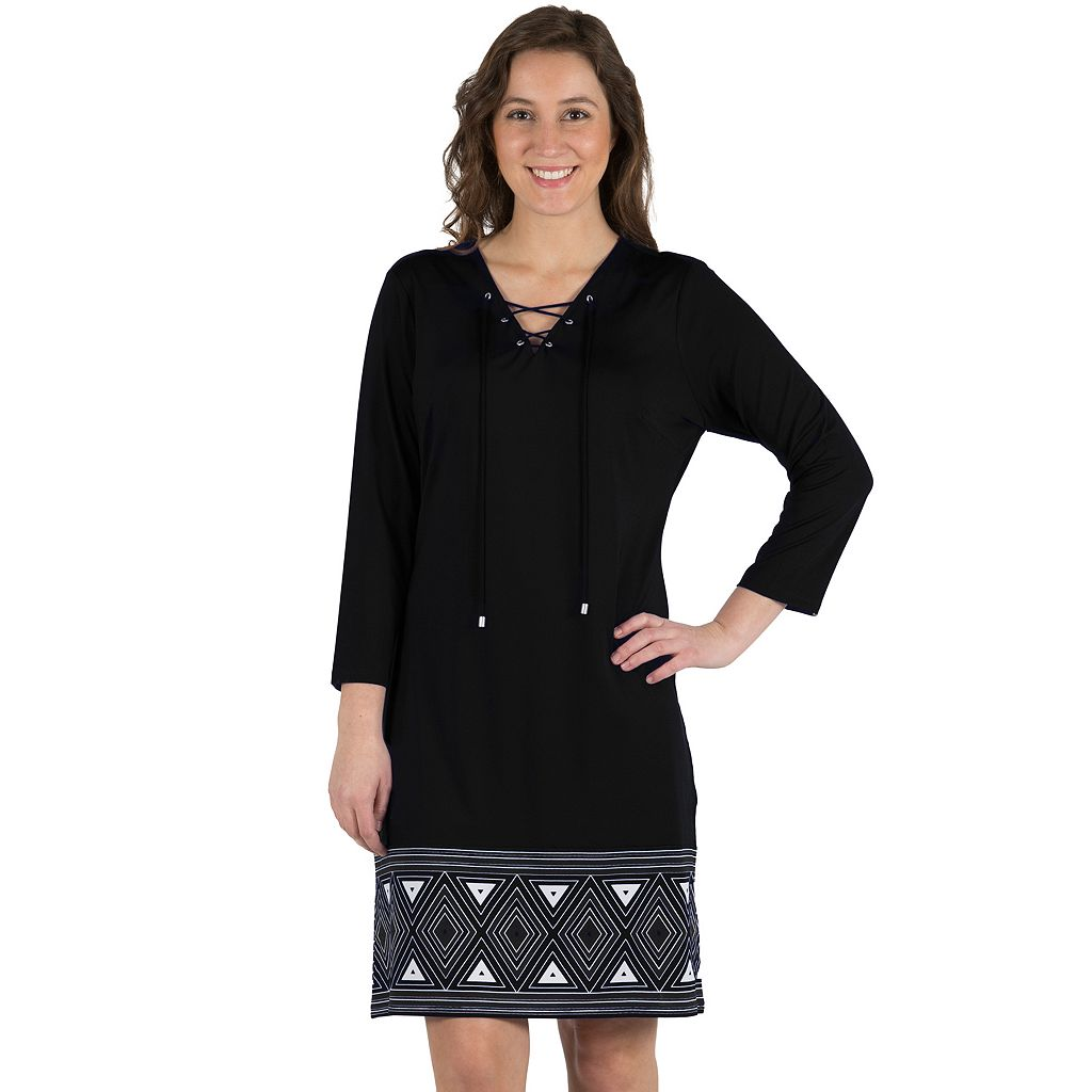 Women's Larry Levine Lace Up A-Line Border Print Dress