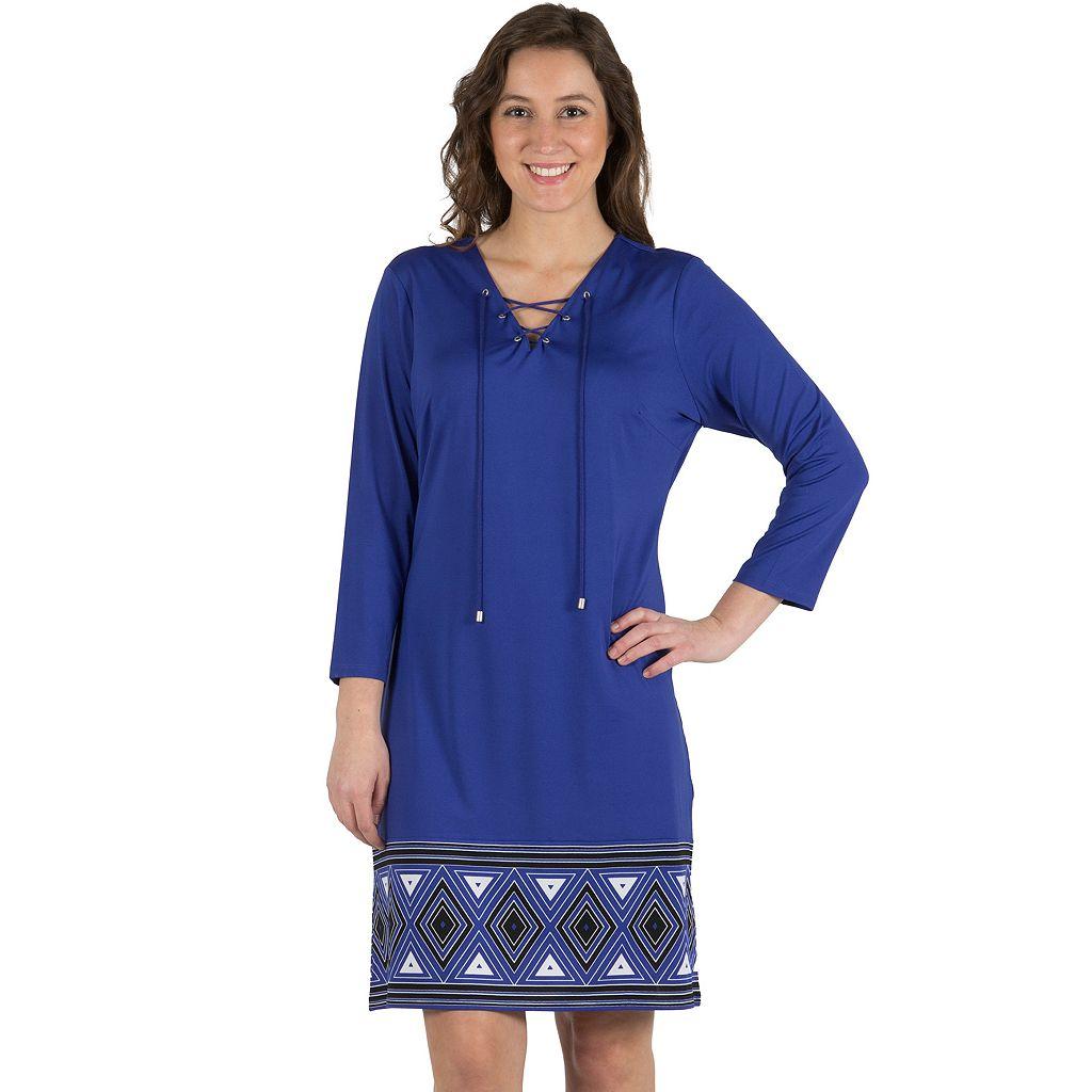Women's Larry Levine Lace Up A-Line Border Print Dress