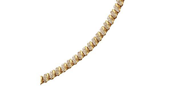 18k Gold Over Sterling Silver 1 2 Ct T W Diamond Bracelet