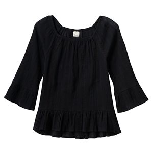 Girls 7-16 Mudd® Patterned Textured Bell Sleeve Peasant Top