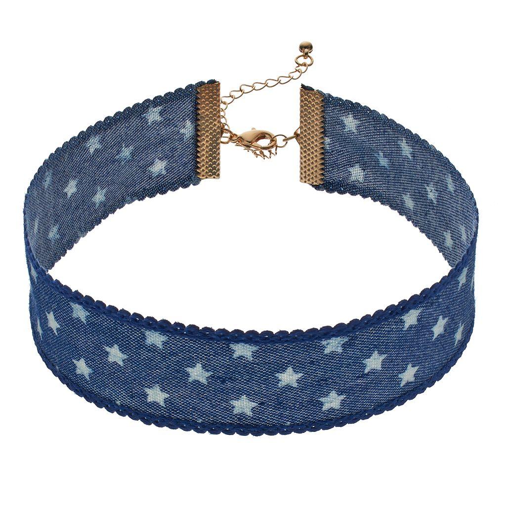Mudd® Blue Denim Star Choker Necklace