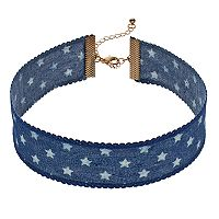 Mudd® Blue Denim Star Choker Necklace