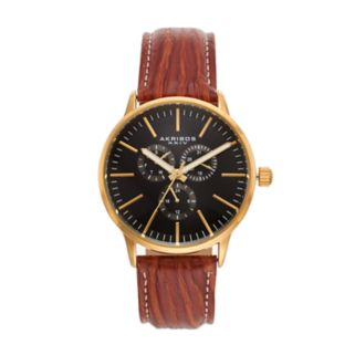 Akribos XXIV Men's Enterprise Leather Watch