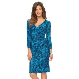 Women's Chaps Printed Surplice Sheath Dress
