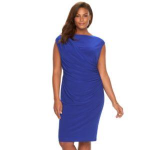 Plus Size Chaps Draped Ruched Sheath Dress