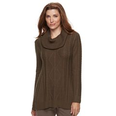 Petite Napa Valley Cable-Knit Cowlneck Tunic