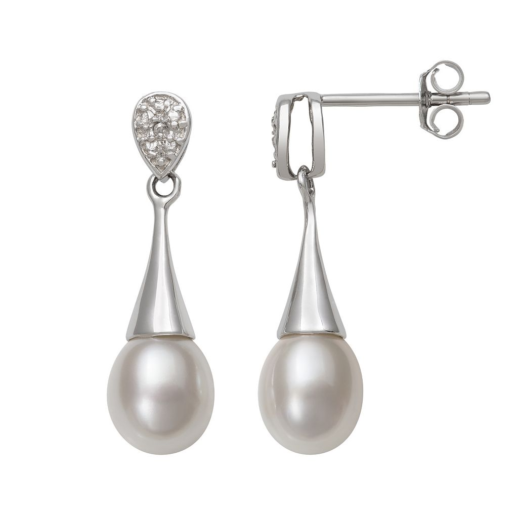 Sterling Silver Freshwater Cultured Pearl Drop Earrings