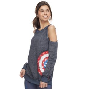 Juniors' Marvel Hero Elite Captain America Cold-Shoulder Top by Her Universe