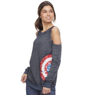 Juniors' Marvel Hero Elite Captain America Cold-Shoulder Top by Her Universe