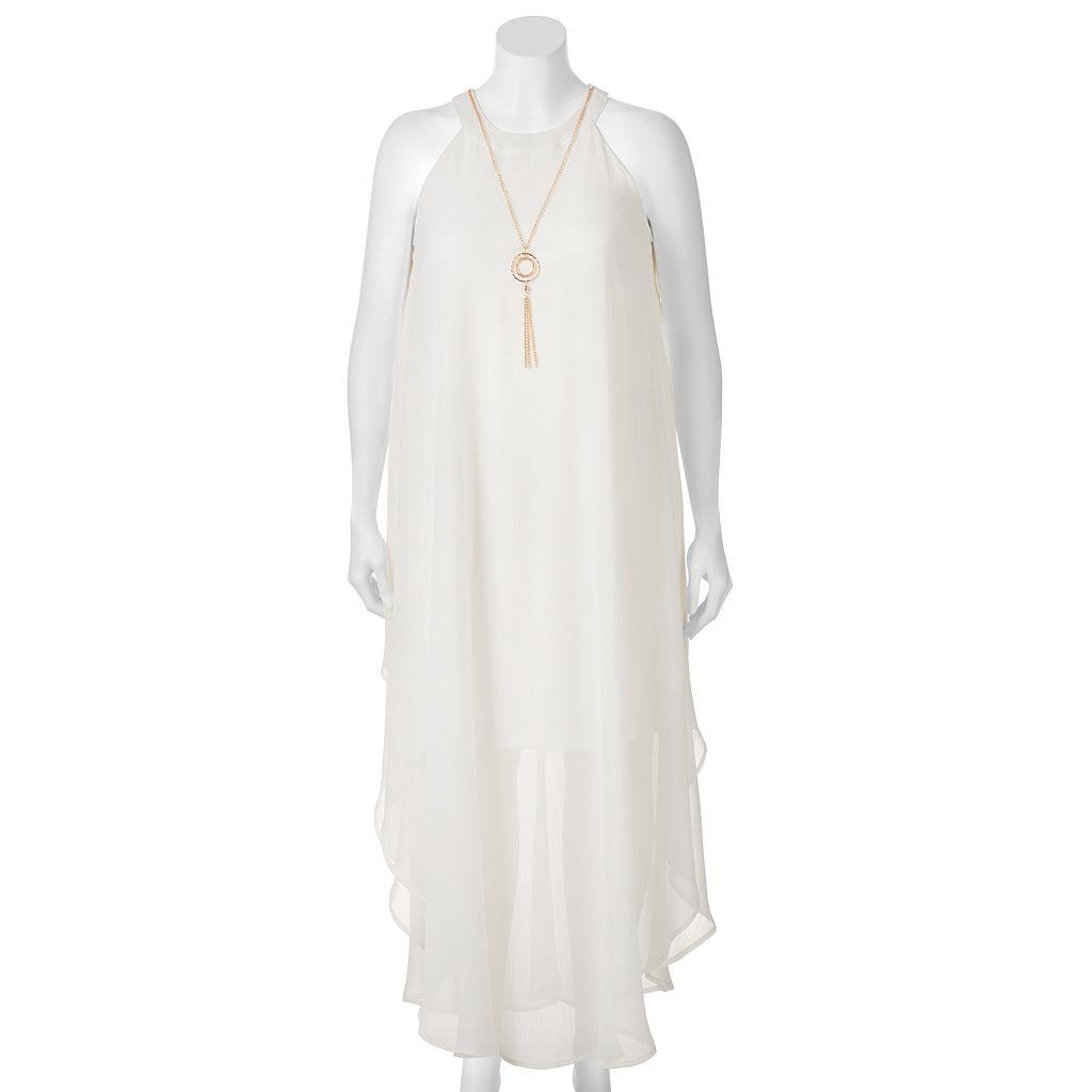 Juniors' Plus Size Wrapper Necklace Halter Maxi Dress