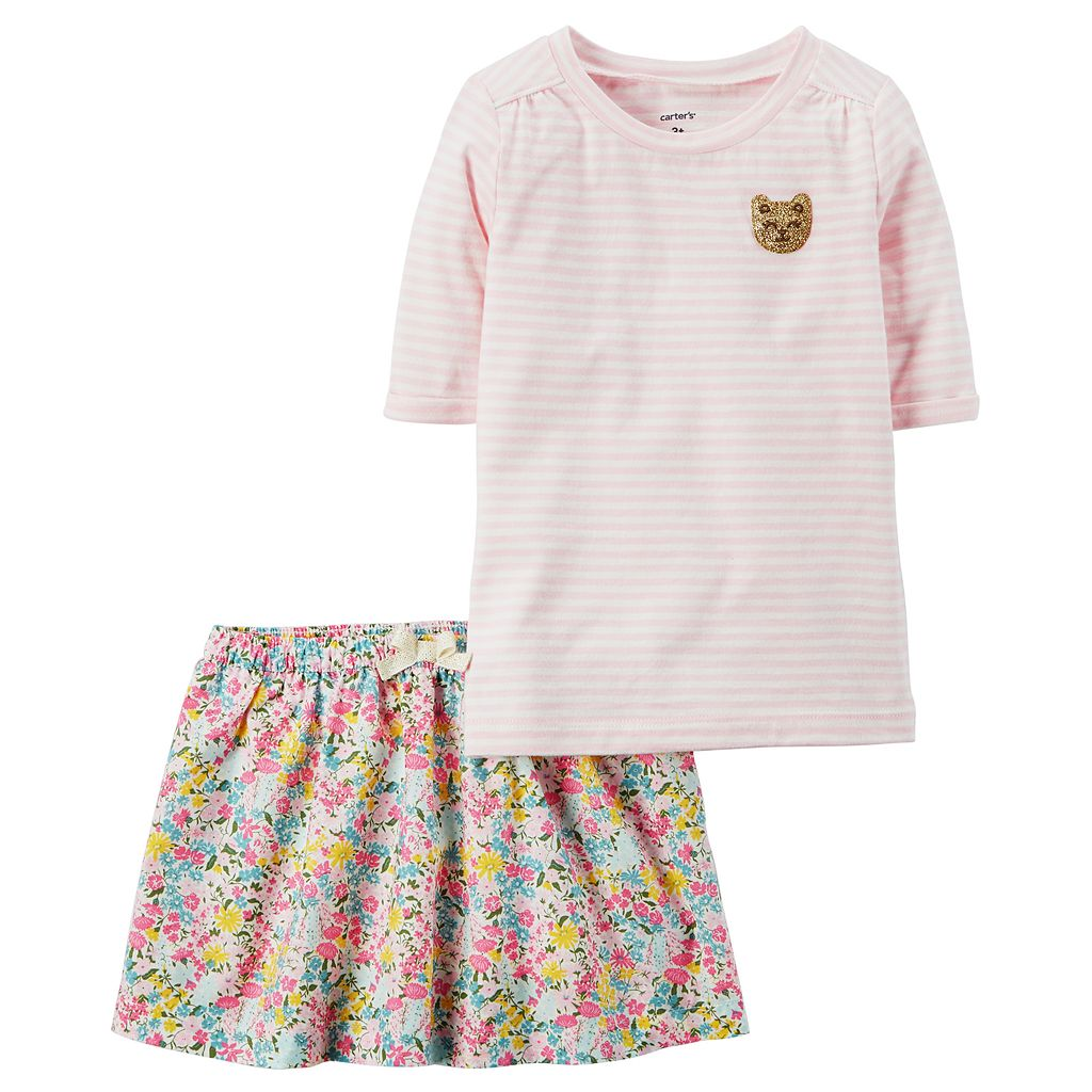Girls 4-8 Carter's Striped Top & Floral Skirt Set