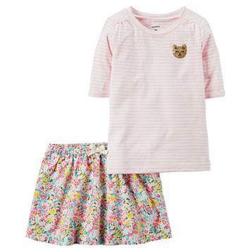 Girls 4-8 Carter's Striped Top & Floral Skirt Set