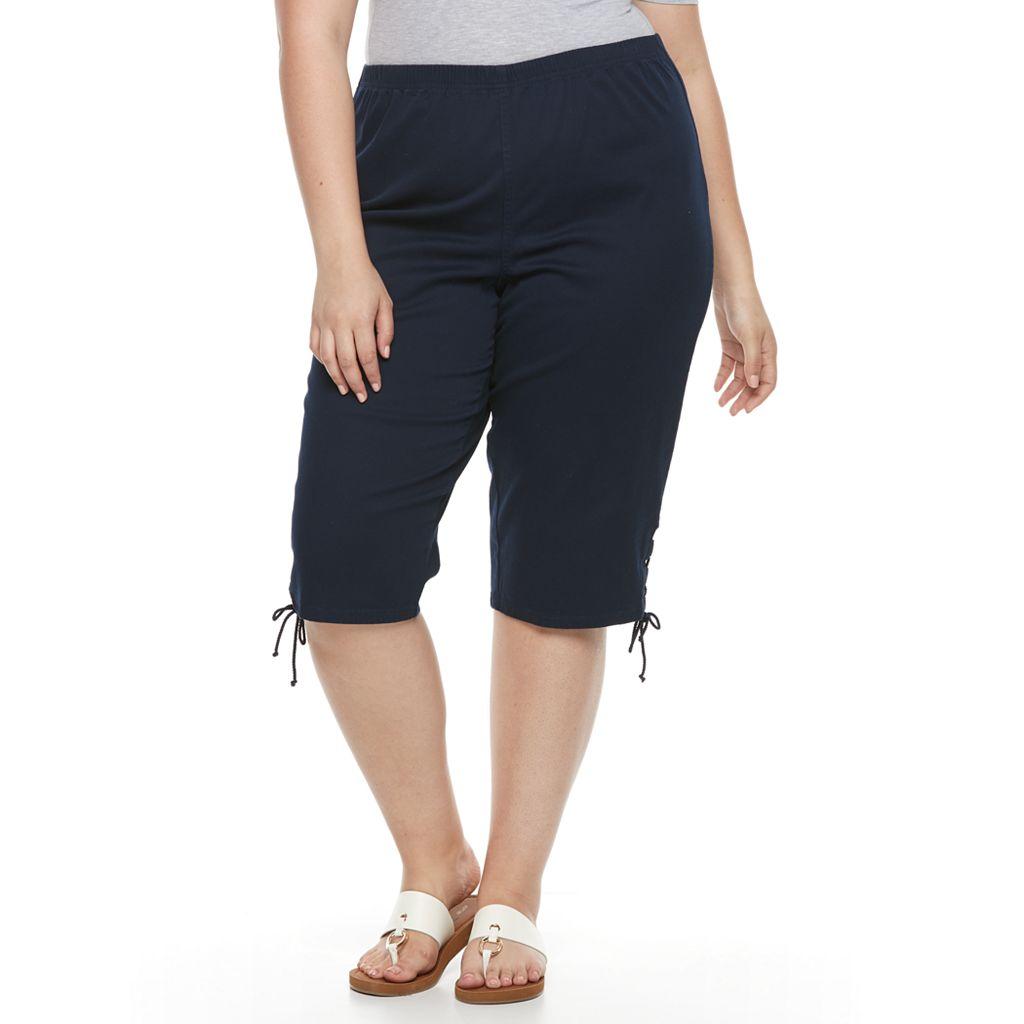 Plus Size Croft & Barrow® Lace-Up Skimmer Capris
