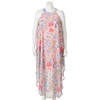 Juniors' Plus Size Wrapper Floral Halter Maxi Dress