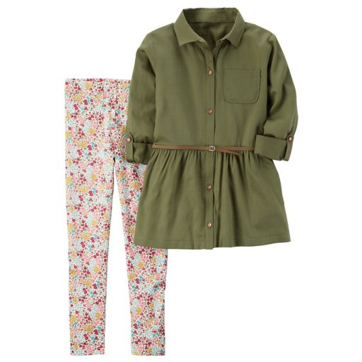 Girls 4-8 Carter's Olive Tunic & Floral Leggings Set