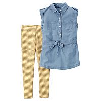 Girls 4-8 Carter's Chambray Tunic & Floral Leggings Set