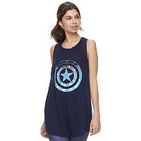 Juniors' Marvel Hero Elite Captain America Mesh Tank by Her Universe