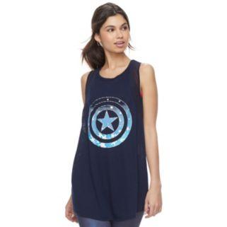 Juniors' Marvel Hero Elite Captain America Mesh Tank by Her Universe