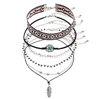 Mudd® Beaded, Leaf & Tribal Choker Necklace Set