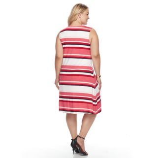 Plus Size Croft & Barrow® Striped Lace-Up Dress