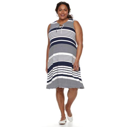 Plus Size Croft & Barrow® Striped Lace-Up Dress