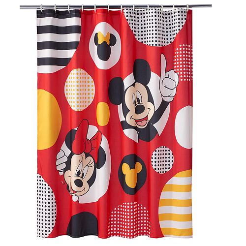 Disney\'s Mickey & Minnie Mouse Polka-Dot Shower Curtain