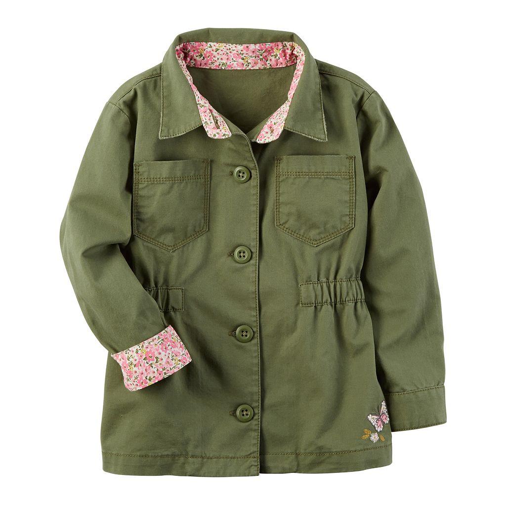 Girls 4-8 Carter's Olive Floral Trim Lightweight Jacket