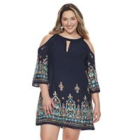 Plus Size Chaya Scroll Cold-Shoulder Shift Dress