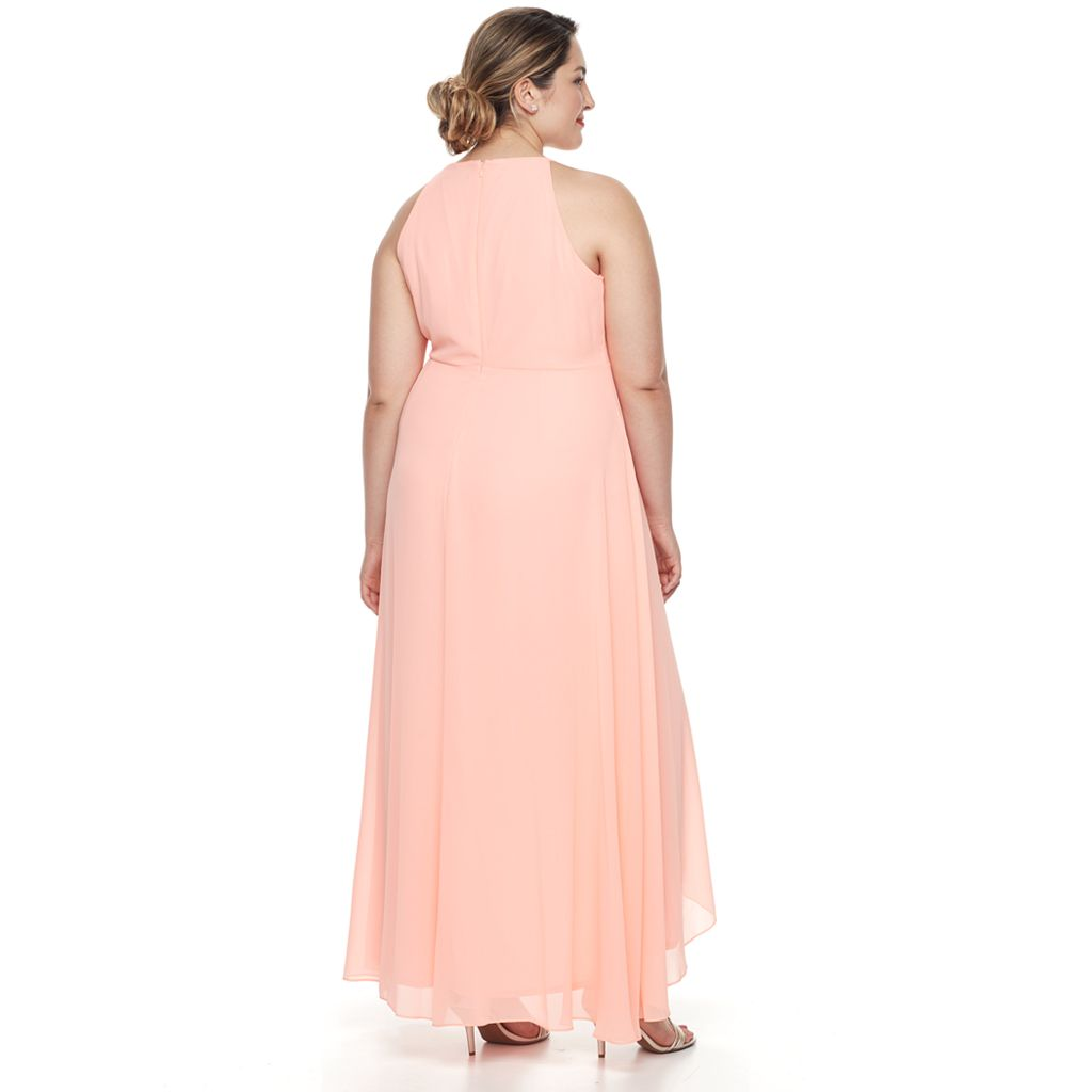 Plus Size Chaya Chiffon Faux-Wrap Evening Gown