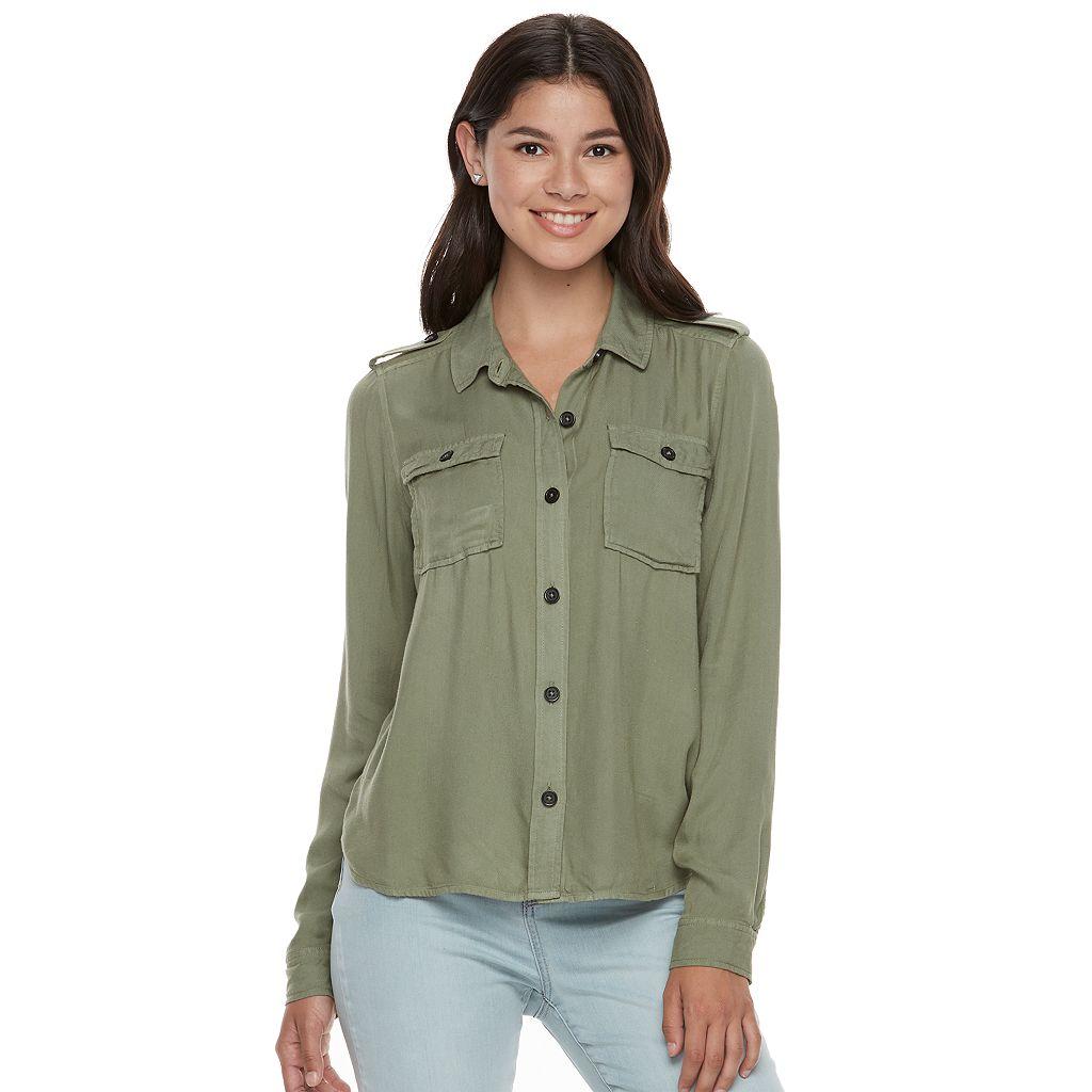 Juniors' Mudd® Twill Utility Shirt
