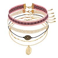 Mudd® Lace, Leaf & Medallion Choker Necklace Set