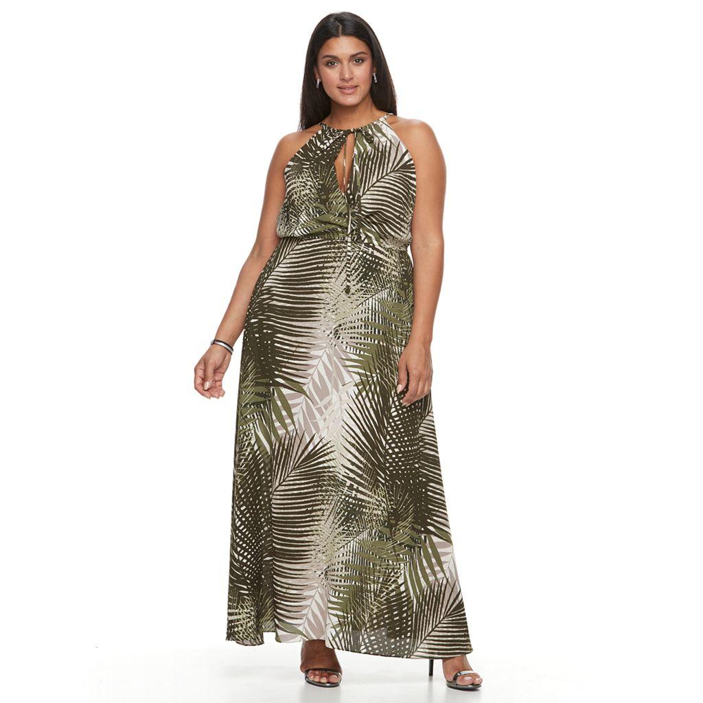 Plus Size Chaya Leaf Keyhole Maxi Dress