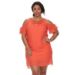 Plus Size Chaya Cold-Shoulder Embroidered Shift Dress