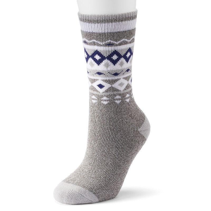 Women's Heat Holders LITE Thermal Crew Socks, Size: 5-9, Grey Get in step. Thanks to their medium-thick profile, these women's Heat Holders thermal socks are ideal for wearing in casual shoes and boots. Medium-weight thermal construction featuring heavy bulk yarns 1.6 Thermal Overall Grade (TOG) rating Superior softness Medium pile cushioning Non-binding diabetic-friendly design offers relief for circulation problems FIT & Sizing Crew length Fits shoe sizes 5-9 Fabric & Care Acrylic, polyester & elastane Machine wash Imported Color: Grey. Gender: Female. Age Group: Adult. Material: Cotton Blend.