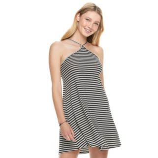 Juniors' Love, Fire Ribbed Halter Shift Dress