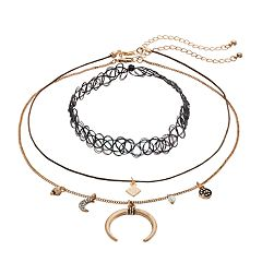 Mudd® Celestial Charm & Tattoo Choker Necklace Set
