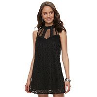 Juniors' Speechless Pleated Lace Illusion Dress
