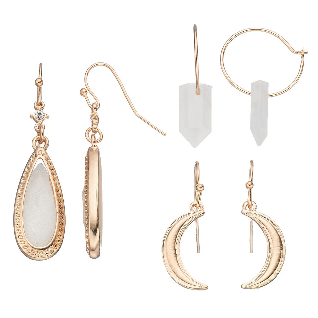 Mudd® Crescent, Teardrop & Faceted Stone Earring Set