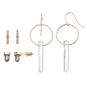 Mudd® Faceted Stone Stud & Hoop Earring Set