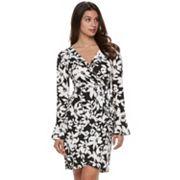 Women's Suite 7 Print Bell-Sleeve Faux Wrap Dress