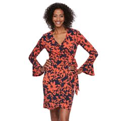 Women's Suite 7 Print Bell-Sleeve Faux Wrap Dress