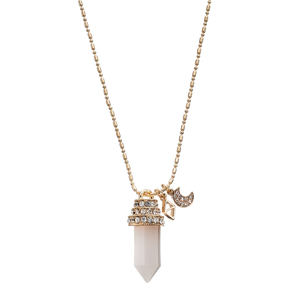 Long Pink Prism, Triangular & Crescent Charm Necklace