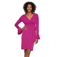 Women's Suite 7 Bell-Sleeve Faux Wrap Dress