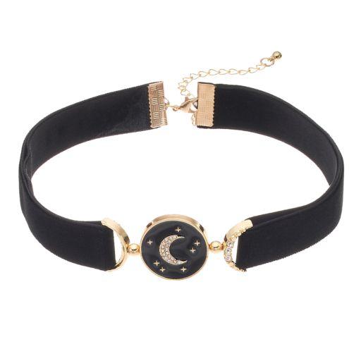 Star & Moon Velvety Choker Necklace