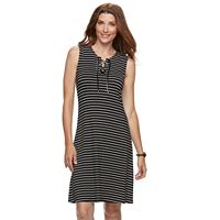 Women's Croft & Barrow® Striped Lace-Up Dress